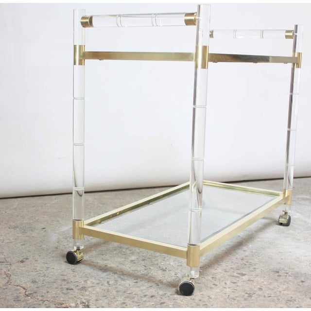 Charles Hollis Jones Lucite Faux-Bamboo and Brass Serving Cart - Image 10 of 11