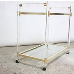 Image of Charles Hollis Jones Lucite Faux-Bamboo and Brass Serving Cart