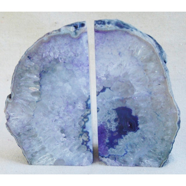 Image of Violet Crystal Rock Geode Bookends