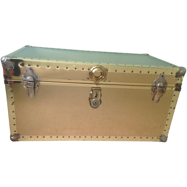 Brass Storage Trunk with Metal Hardware - Image 1 of 7