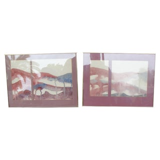 George Caso Abstract Water Color Paintings - Pair