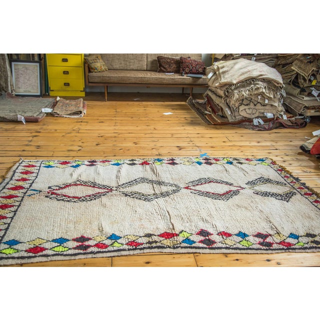 """Vintage Colorful Moroccan Rug - 4'2"""" x 7'3"""" - Image 4 of 5"""