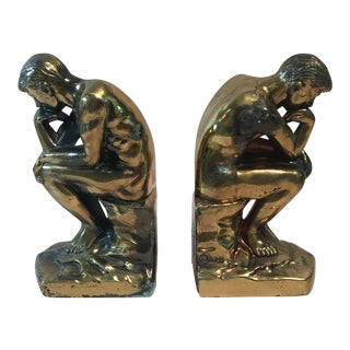 1928 Art Deco The Thinker Bookends - A Pair
