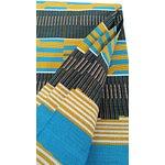 Image of Teal Black Gold Kente Cloth Print - 4 Yards