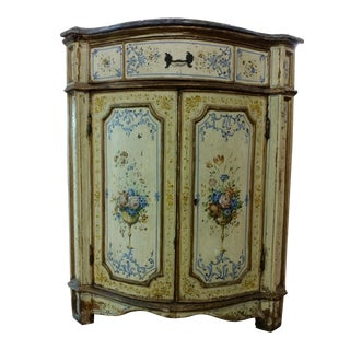 18th Century Venetian Marble Top Corner Cabinet