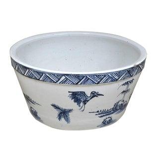 Blue & White Bird Motif Water Bowl
