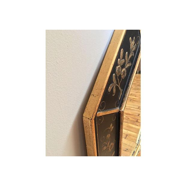 La Barge Vintage Hand Painted Black Gilded Mirror - Image 4 of 8