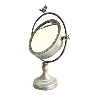 Tilting Metal Mirror on Stand With Bird Finial