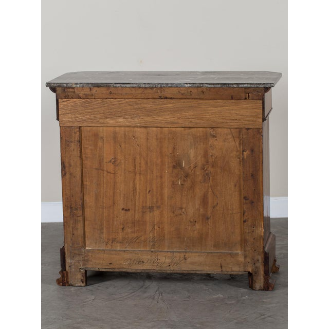Antique French Louis Philippe Burl Walnut Chest with Marble Top circa 1850 - Image 10 of 11
