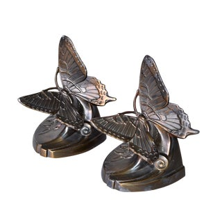 Antique Solid Bronze Butterfly Bookends - a Pair