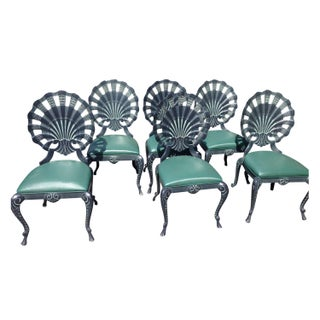 Vintage Shell Back Grotto Aluminum Chairs - S/6