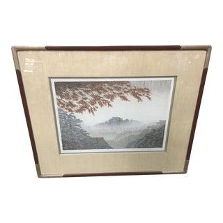 """Shufu Miyamoto Wood Block Print Limited Edition """"Drizzling"""""""