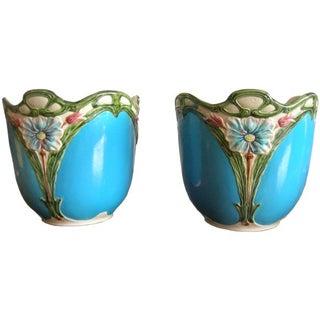 Blue Majolica Vases - Pair