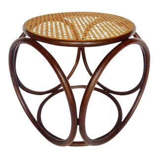 Vintage Thonet Bentwood and Cane Ottoman