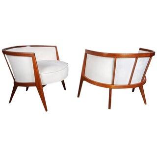 Sculptural Mahogany Lounge Chairs - A Pair