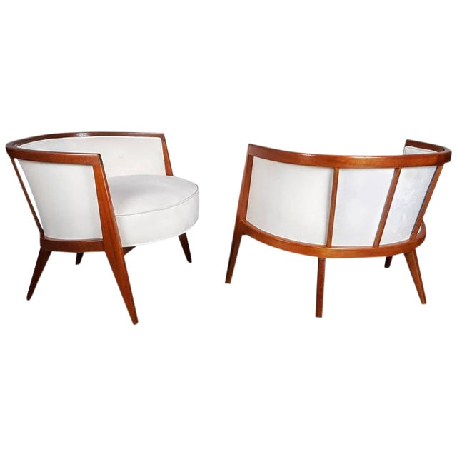 Image of Sculptural Mahogany Lounge Chairs - A Pair