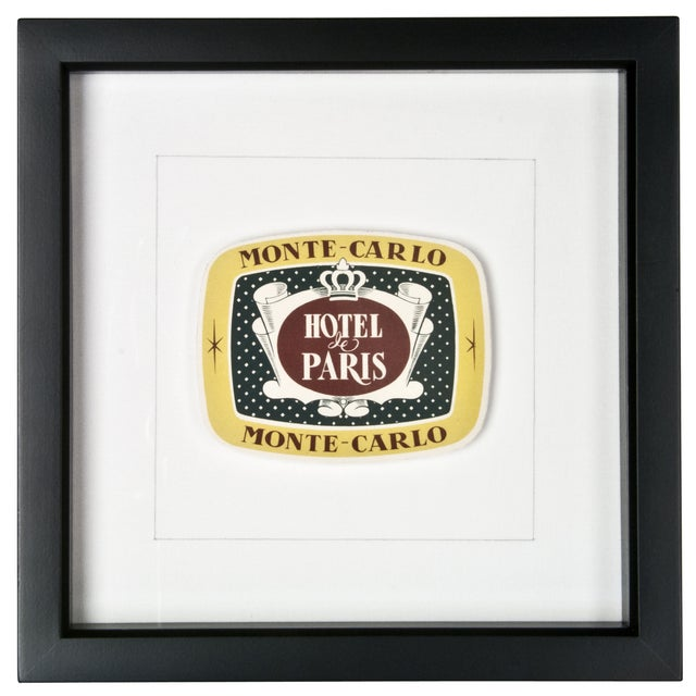 Framed French Monte Carlo Hotel Luggage Label - Image 1 of 2