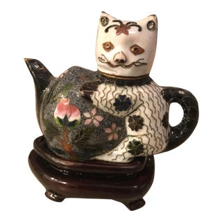 Miniature Cloisonne Cat Tea Pot