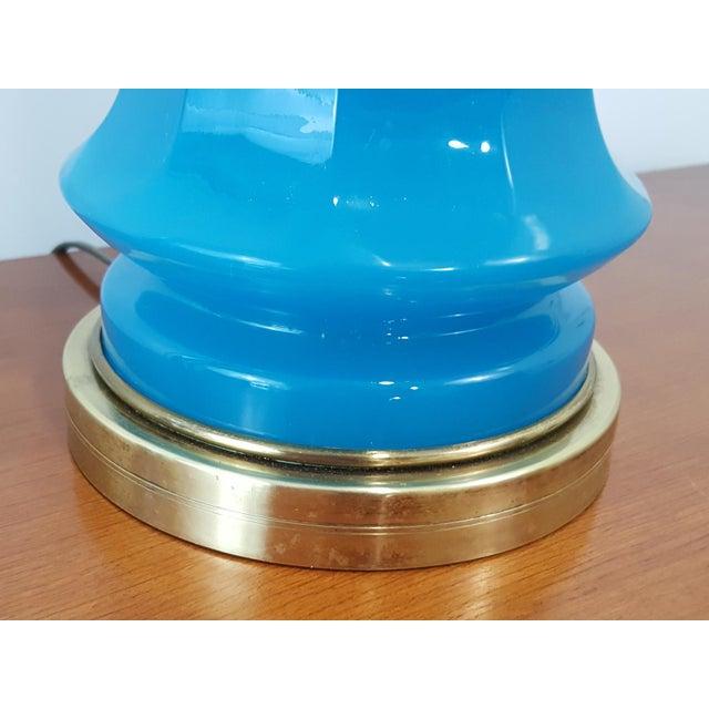 Warren Kessler NY Mid-Century Blue Opaline Murano Glass Lamp - Image 3 of 6