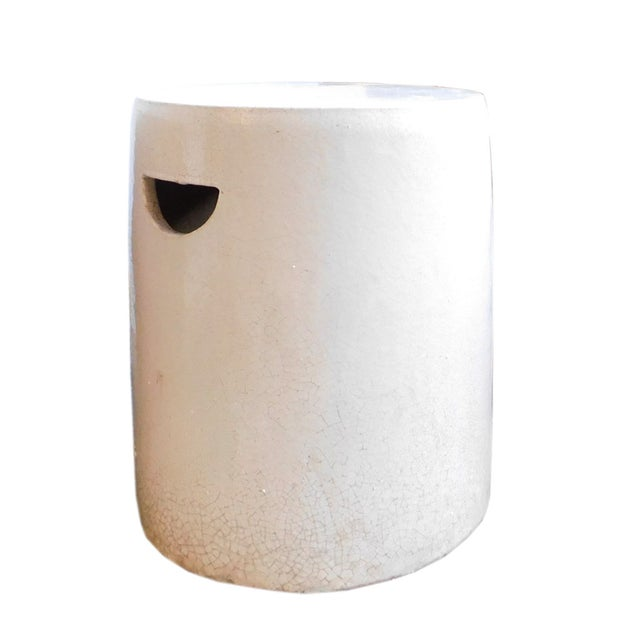 Chinese Off White Clay Round Garden Stool - Image 2 of 4