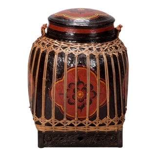Thai Red & Black Lacquered Bamboo Lidded Basket