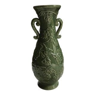Green Grapevine Pattern Glazed Ceramic Vase