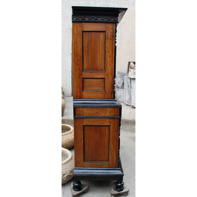 19th c. British Colonial Satin/Ebony 4 Door Cabinet with Carved Moldings - Image 5 of 8