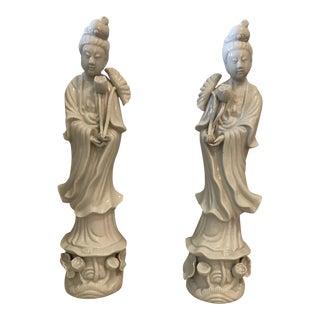Blanc De Chine Quan Yin Porcelain Statues - A Pair