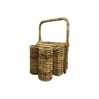 Wicker Picnic Basket with Two Bottle Carrier