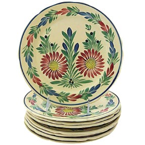 Vintage French Quimper Dinner Plates - Set of 8