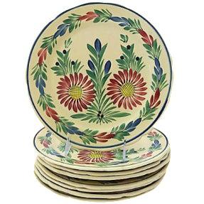 Vintage French Quimper Dinner Plates - Set of 8