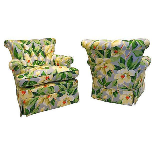 Mid-Century Floral Print Button Tufted Chairs - A Pair - Image 3 of 5