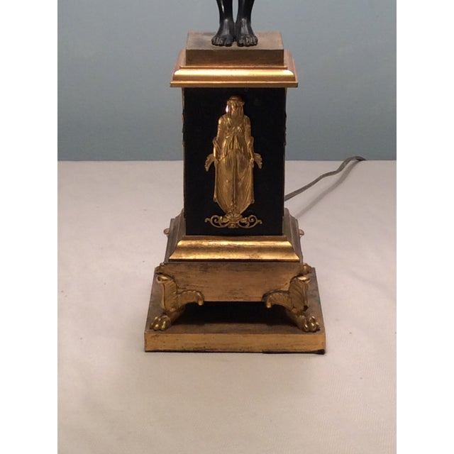 Image of Neoclassical Bronze & Gilt Bronze Candlestick Lamp