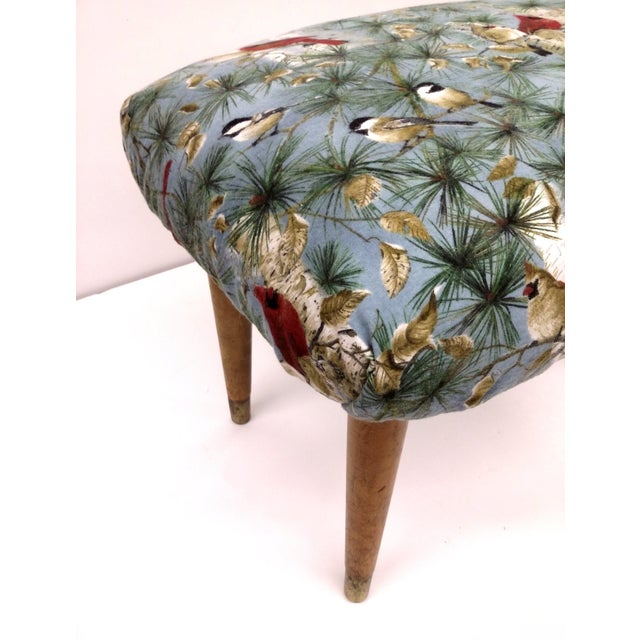 Mid-Century Cardinal Upholstered Stool - Image 6 of 11