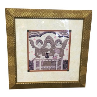 """Framed """"Three Angels"""" Painting"""