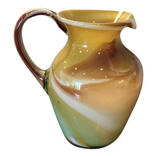 1970's Murano Glass Marbleized Swirly Pitcher or Vase