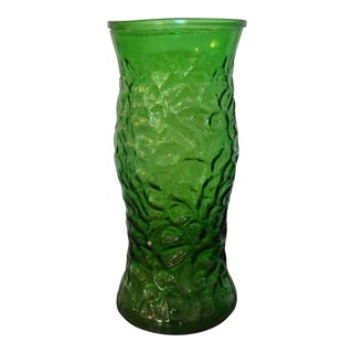 Large Mid-Century Emerald Green Translucent Flower Vase by Hoosier Glass Company
