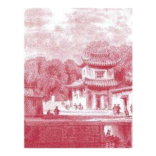 "Acrylic Framed ""Bridge Chapoo"" Chinese Village Scene Print"