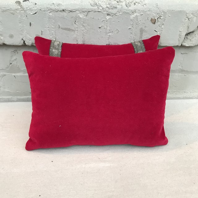 Red Appliqued Pillows - a Pair - Image 6 of 6