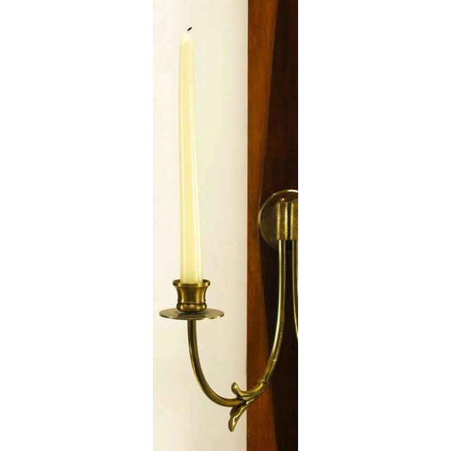 Image of Grosfeld House Sunburst Top Mirror with Integral Brass Sconces