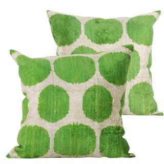 Green and Cream Silk Velvet Accent Pillows - A Pair