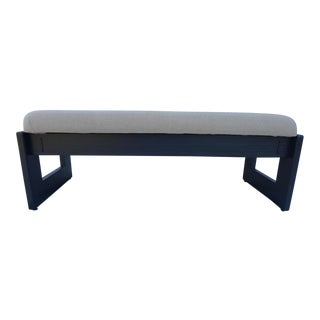 Mid Century Dark Gray Oak Bench