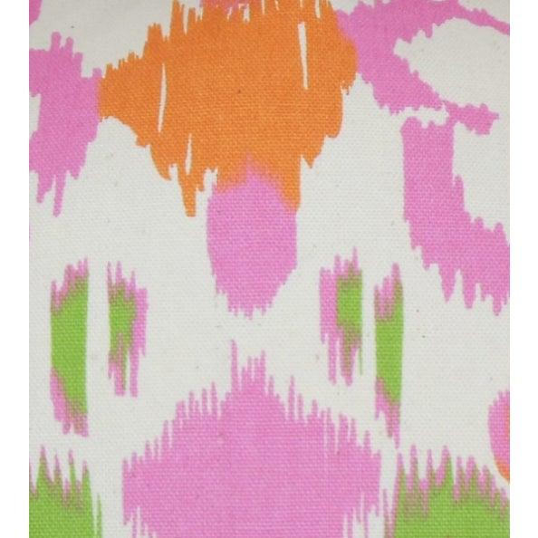 Pink, Orange & Green Ikat Pillows - A Pair - Image 5 of 6