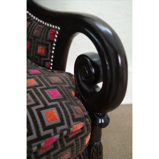 Carved Fire Side Barrel Back Wing Chairs - Pair - Image 6 of 10