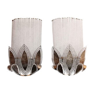 Beaded Art Deco Wall Sconces - A Pair