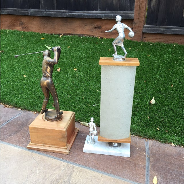 1970's Men's Golf, Women's Bowling Trophies-A Pair - Image 8 of 12