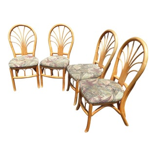 Set of Four Vintage Mid Century Modern Bentwood Bamboo Dining Chairs W Floral Fabric