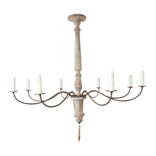 Italian Carved Wood and Iron Chandelier