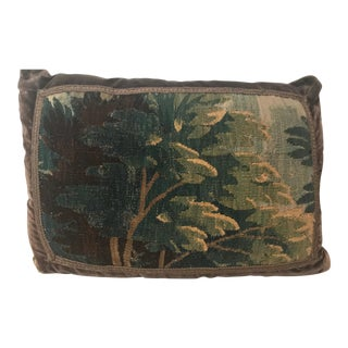 Brown & Green Velvet Flemish Embroidered Pillow