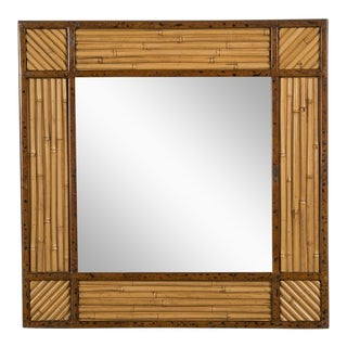 Bamboo Framed Mirror, Belgium c.1970. (23 3/4″w x 23 3/4″h)